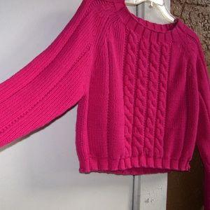 Moda Int'l Fuchsia L/S Sweater SCOOPNECK  Size M